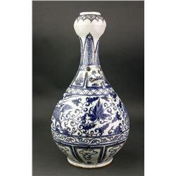 Chinese Blue & White Porcelain Garlic Month Vase
