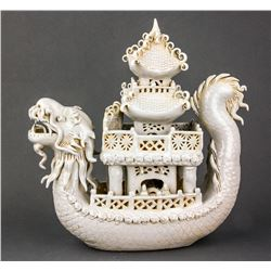Ming Style Chinese Porcelain Dragon Boat