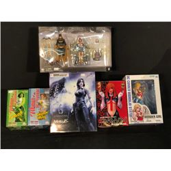 COLLECTION OF FIGURINES INC. BATGIRL & ORACLE, JADE, SHAZAM MARY, DAWN, WONDER GIRL AND HELENA
