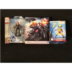 COLLECTION OF 3 MARVEL FIGURINES INC. BLACK WIDOW, WOLVERINE, AND WAR MACHINE
