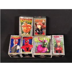 COLLECTION OF MARVEL MINI-BUSTS INC. 2X SPIDERMAN, GREEN GOBLIN, BLACK WIDOW, KRAVEN AND SCARLET