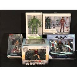 COLLECTION OF DC FIGURINES INC. THE FLASH & ARROW, BATMAN, SWAMP THING, RED ROBIN AND WONDER WOMAN