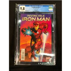 INVINCIBLE IRON MAN #1, STEGMAN VARIANT COVER, CGC GRADED 9.8, SEALED IN PROTECTIVE CASE