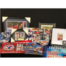 COLLECTION OF AUTOGRAPHED CONOR MCDAVID MEMORABILIA INC. MAGAZINES, FIGURINES, PUCK AND MORE, ALSO