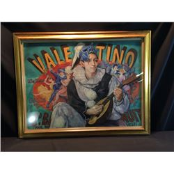 "SHELDON C. SCHONEBERG, FRAMED ORIGINAL PASTEL, ""VALENTINO"", CLOWN PLAYING A LUTE, SIGNED ON LEFT"