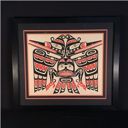 JIM JOHNNY, 1979 FRAMED LIMITED EDITION PRINT 400/600, KWAGIULTH CANNIBAL BIRD, WITH ARTIST BIO AND