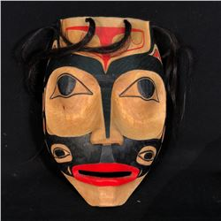 "G. WILSON HAND CARVED AND PAINTED ""KILLER WHALE PORTRAIT"" MASK WITH HORSE HAIR ACCENTS, 13'' T X"