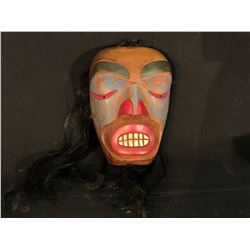 P. CARADLL HAND CARVED AND PAINTED FIRST NATIONS MASK WITH HORSE HAIR ACCENTS, 8.5'' T X 6'' W,