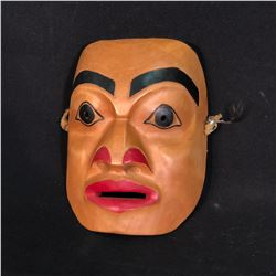 """CARL LAROCK, HAND CARVED AND PAINTED """"PORTRAIT"""" MASK, DATED MARCH 1986, 7.5'' T X 6'' W, SIGNED BY"""