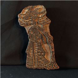 HAND CARVED TRADITIONAL FABRIC BLOCK STAMP, APPROX. 100-200 YEARS OLD, INDIAN DANCER DESIGN ,