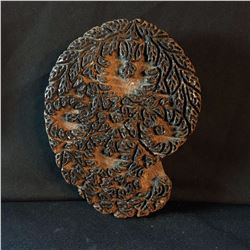 HAND CARVED TRADITIONAL FABRIC BLOCK STAMP, APPROX. 100-200 YEARS OLD, CLASSIC PAISLEY DESIGN ,