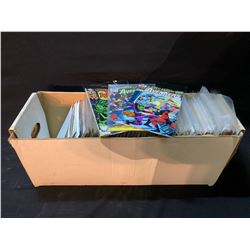 COPPER AGE LONG BOX OF MIXED DC & MARVEL TITLES (MID GRADE AVG) MOST EARLY TO MID 1980S