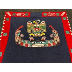 HAND CRAFTED FIRST NATIONS BLANKET WITH BALD EAGLE AND SERPENT DESIGNS, ABALONE