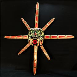 ROBERT JOSEPH, OF SQUAMISH NATION, HAND CARVED AND PAINTED 8 RAY SUN MASK WITH MAN DESIGNS, APPROX.