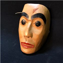 RON AUSTIN, HAND CARVED AND PAINTED FIRST NATIONS HUMAN MASK, CARVED IN 1983, SIGNED ON BACK BY