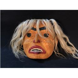 GERRY SHEENA HAND CARVED AND PAINTED FIRST NATIONS  ELDER  MASK, WITH ABALONE, SHELL, COPPER AND
