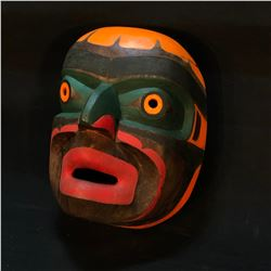HAND CARVED AND PAINTED WILD MAN MASK, ARTIST UNKNOWN, APPROX. 11'' TALL