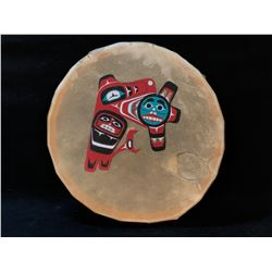 HAND CRAFTED AND PAINTED ANIMAL HIDE FIRST NATIONS DRUMS FEATURING EAGLE AND MOON DESIGN, 15.5''