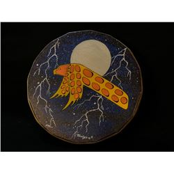 HAND CRAFTED AND PAINTED ANIMAL HIDE FIRST NATIONS DRUMS FEATURING FLYING EAGLE DESIGN, 15.5''