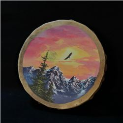 HAND CRAFTED AND PAINTED ANIMAL HIDE FIRST NATIONS DRUMS FEATURING EAGLE AT SUNSET DESIGN, 15.5''