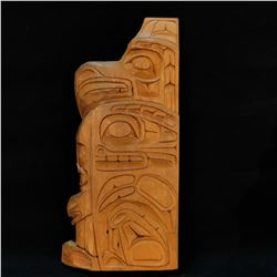 SONNY WILSON  EAGLE, SEA WOLF  HAND CARVED FIRST NATIONS STATUE, DATED 1978, SIGNED ON BACK BY