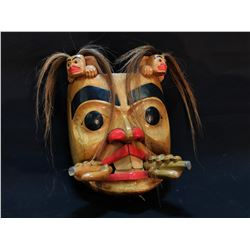 "ARTIE GEORGE HAND CARVED AND PAINTED ""BEAVER MASK"", FROM BURRARD FIRST NATION IN NORTH WITH STONE"