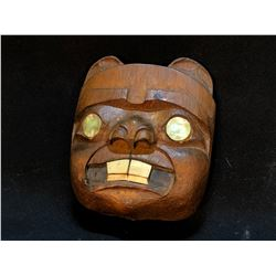 BEAVER MASK  DARK WOOD, HAND CARVED AND PAINTED MASK WITH ABALONE INLAID ACCENTS, ARTIST UNKNOWN,