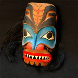 "HENRY SAM ""WARRIOR"" HAND CARVED AND PAINTED FIRST NATIONS MASK, WITH HORSE HAIR ACCENTS, APPROX."