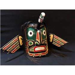 ROBERT JOSEPH, HAND CARVED AND PAINTED TRANSFORMATION MASK, FEATURING EAGLE AND HUMAN DESIGNS AND