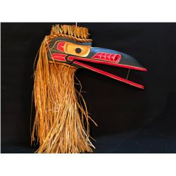 WAYNE BELL, HAND CARVED AND PAINTED RAVEN MASK WITH ARTICULATING BEAK AND CEDAR BARK ACCENTS,