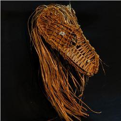 WAYNE BELL, LARGE ELABORATE SHAVED CEDAR BARK WEARABLE EAGLE HEAD DRESS, WITH ABALONE AND POLISHED