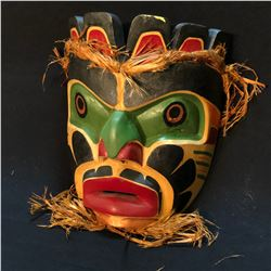 SEAN HANSEN WILD MAN MASK WITH CEDAR BARK ACCENTS, APPROX. 10'' TALL, CARVED IN 1975, SIGNED BY
