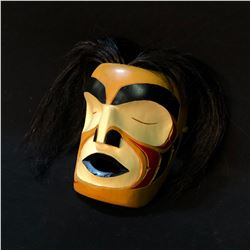 HAND CARVED AND PAINTED SLEEPING MAN FIRST NATIONS MASK, WITH HORSE HAIR ACCENTS, ARTIST UNKNOWN,
