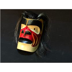 "HAND CARVED AND PAINTED ""BOOKGWAS"" FIRST NATION MASK, BY VOYNE, WITH HORSE HAIR ACCENTS, APPROX."