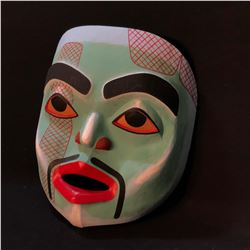 "GEORGE PENNIER HAND CARVED AND PAINTED ""MOON PORTRAIT MASK"", CARVED IN CHEHALIS B.C. IN MARCH 1990,"