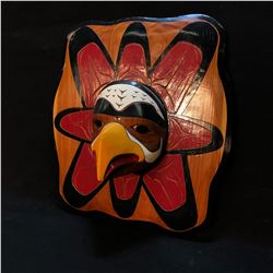 HAND CARVED AND PAINTED EAGLE AND SUN PANEL MASK, ARTIST UNKNOWN, DATED 1998, APPROX. 22'' TALL