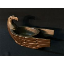 "HAND CARVED EAGLE DESIGN WOODEN BOWL, ARTIST UNKNOWN, 14 1/2"" LONG X 8 1/2"" WIDE"