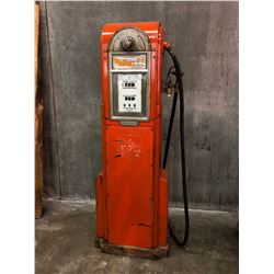 "VINTAGE PHILLIPS 66 GAS PUMP, CIRCA 1950, NORTH DAKOTA, ""CUT 60"", SERIAL NUMBER 1453-BB, ALL"