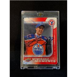 CONNOR MCDAVID AUTOGRAPHED UPPER DECK NHL ENTRY DRAFT CARD IN PROTECTIVE CASE