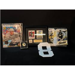 COLLECTION OF SIDNEY CROSBY AND MARIO LEMIEUX MEMORABILIA, INC. SIGNED LEMIEUX PUCK, SIGNED CROSBY
