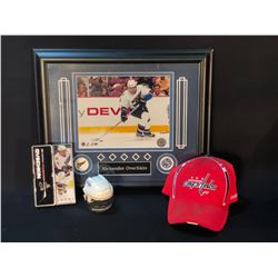 WASHINGTON CAPITALS COLLECTIBLES INC. LIMITED EDITION OVECHKIN FRAMED PRINT, SIGNED HAT, AND MORE