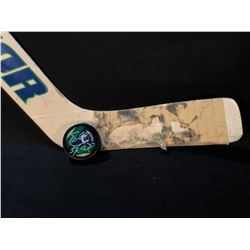 EDDIE LACK CANUCKS DEBUT GAME USED STICK, AND AUTOGRAPHED PUCK