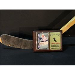 TREVOR LINDEN GAME USED STICK, AND AUTOGRAPHED SIGNATURE SERIES CARD ON PLAQUE