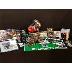 COLLECTION OF VANCOUVER CANUCKS MEMORABILIA INC. FRAMED PICTURE, TICKETS, SOME AUTOGRAPHED PIECES