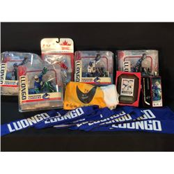 COLLECTION OF ROBERTO LUONGO MEMORABILIA INC. JERSEY NAME PATCHES, FIGURINES, CARDS AND MORE, SOME