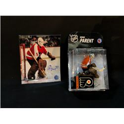 BERNIE PARENT AUTOGRAPHED FIGURINE AND PHOTOGRAPH