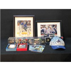 COLLECTION OF AUTOGRAPHED CANUCKS MEMORABILIA INC. HATS, FRAMED CARDS, PUCKS AND MORE, INCLUDES