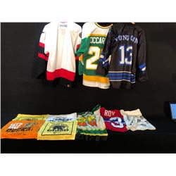 COLLECTION OF VARIOUS NHL AND OTHER HOCKEY JERSEYS AND APPAREL