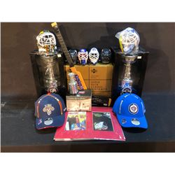 COLLECTION OF VARIOUS NHL MEMORABILIA INC. UPPER DECK MINI BUSTS, HATS, MINI-STICK SIGNED BY GLEN
