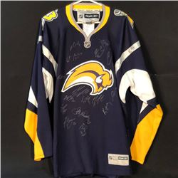 BUFFALO  SABRES JERSEY WITH SIGNATURES FROM 2012 TEAM INC. CHRISTIAN EHRHOFF, ALEXANDER SULCER,